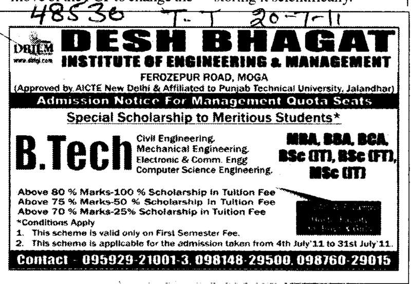 BTech in Civil Electrical and Computer etc (Desh Bhagat Institute of Engineering and Management)