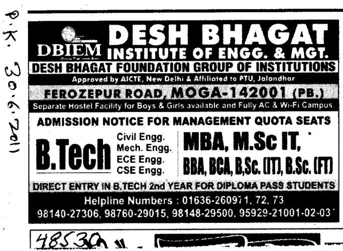 BTech MBA BBA and BCA etc (Desh Bhagat Institute of Engineering and Management)