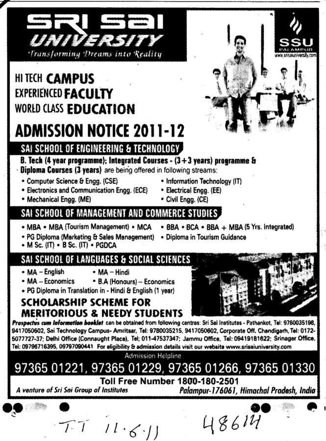 BTech MBA MCA and BBA etc (Sri Sai University)