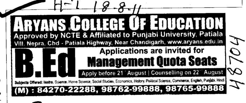Management quota seats for BEd (Aryans College of Education)