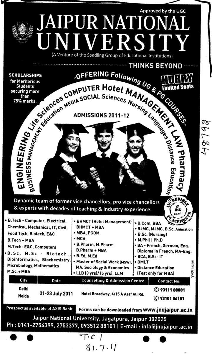 BTech MBA BBA BCA and MSc It etc (Jaipur National University)