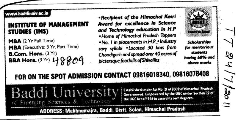 MBA BCom and BBA Hons etc (Baddi University of Emerging Sciences and Technologies)