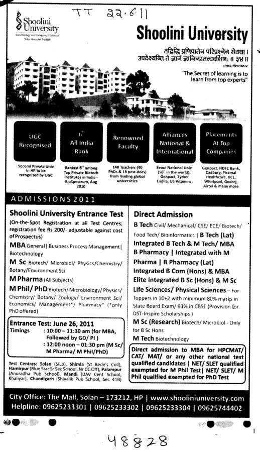 BTech MBA BBA BCA and MSc It etc (Shoolini University)
