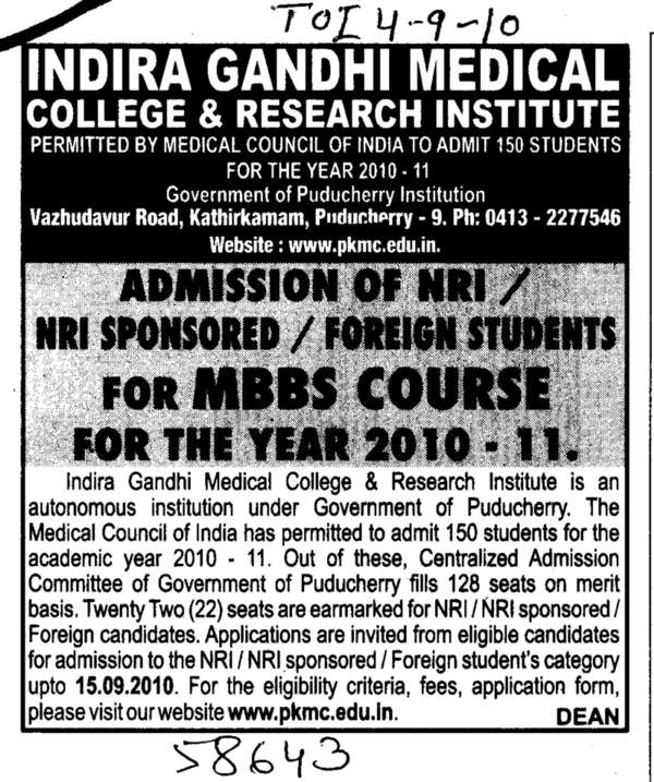MBBS Course (Indira Gandhi Medical College and Research Institute)