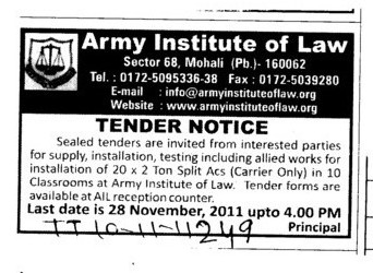 Instalation of Split ACs (Army Institute of Law)