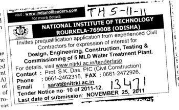 Construction and Testing of Water Treatment Plant (National Institute of Technology (NIT))