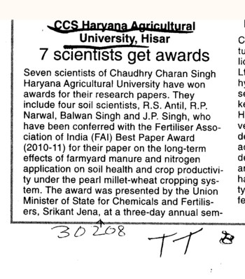 7 Scientists get awards (Ch Charan Singh Haryana Agricultural University (CCSHAU))