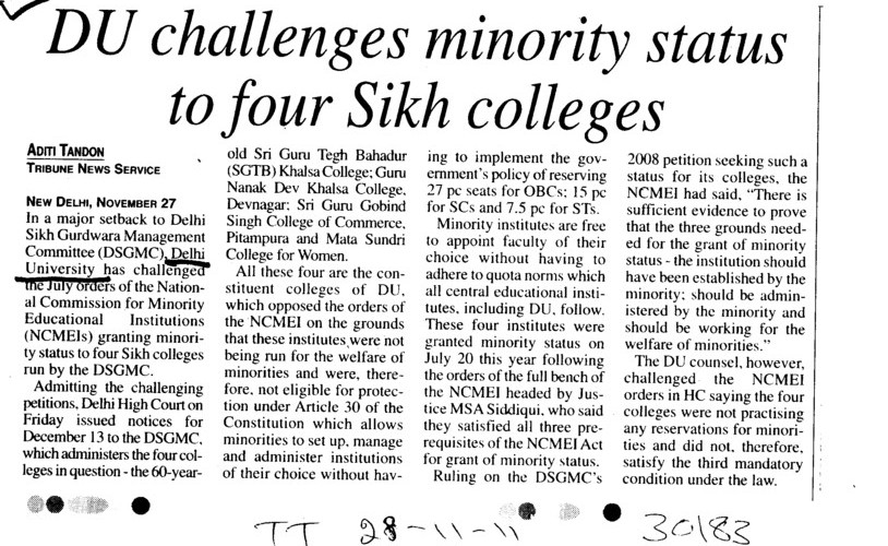 DU challenges minority status to four Sikh colleges (Delhi University)