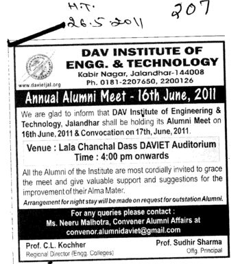 Annual Alumni Meet (DAV Institute of Engineering and Technology DAVIET)