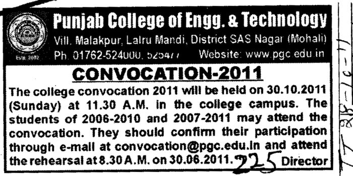 Annual Convocation 2011 (Punjab College of Engineering and Technology)