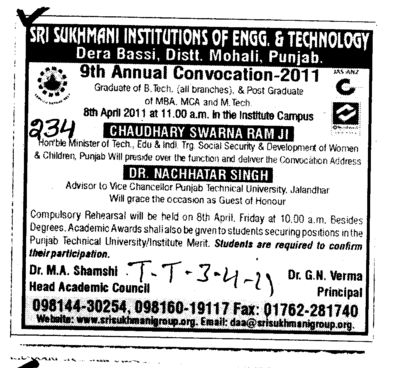 9th Annual Convocation 2011 (Sri Sukhmani Institute of Engineering and Technology)