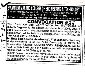Annual Convocation for BTech (Swami Parmanand College of Engineering and Technology (SPCET))