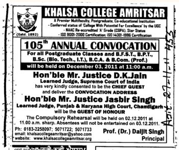 105th Annual Convocation 2011 (Khalsa College)