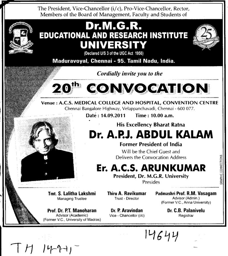 20th Convocation 2011 (Dr MGR Educational and Research Institute University)