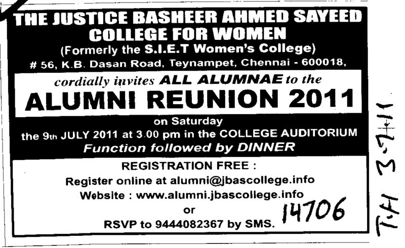 Alumni Reunion 2011 (Justice Basheer Ahmed Sayeed Womens College)