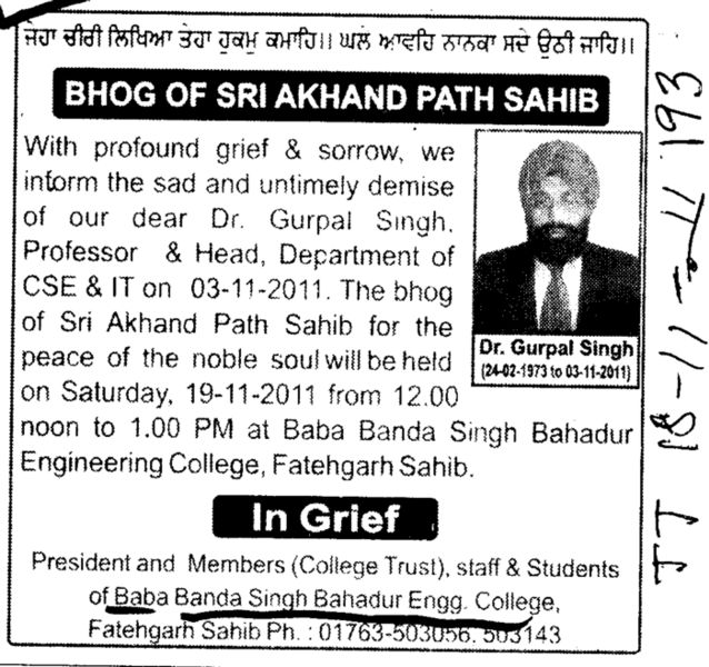 In grief Dr Gurpal Singh (Baba Banda Singh Bahadur Engineering College (BBSBEC))
