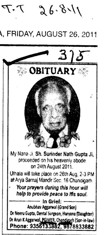 Obituary Sh Surinder Nath Gupta (Post-Graduate Institute of Medical Education and Research (PGIMER))
