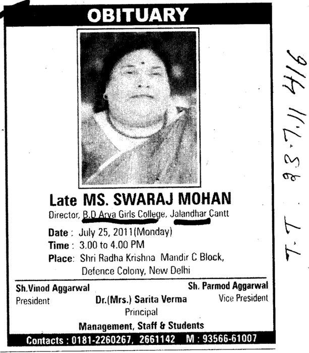 Obituary Late Ms Swaraj Mohan (BD Arya Girls College)