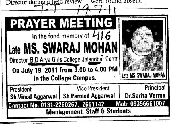 Prayer Meeting in memory of Ms Swaraj Mohan (BD Arya Girls College)