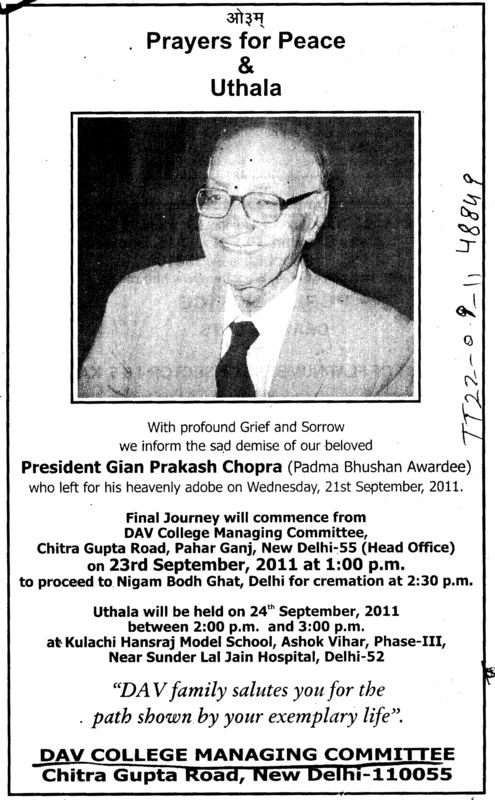 Prayers for Peace and Uthala of President Gian Prakash Chopra (DAV College Managing Committee)