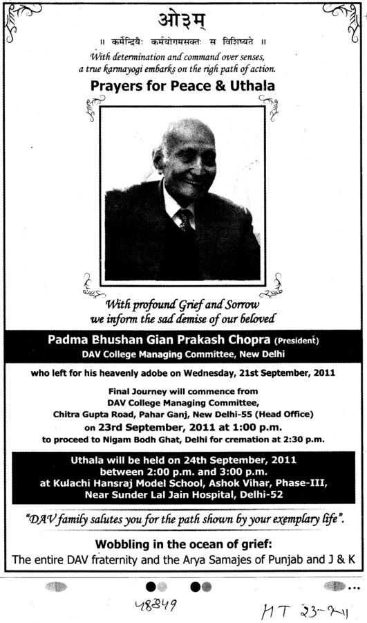 Grief Stricken of Padma Bhushan Gian Prakash Chopra (DAV College Managing Committee)