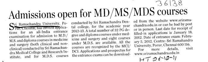 Admission open for MD MS MDS Courses (SRM University)