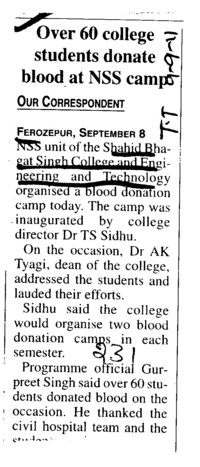 Over 60 College students donate blood at NSS camp (Shaheed Bhagat Singh State (SBBS) Technical Campus)