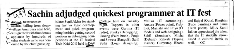 Sachin adjudged quickest programmer at IT fest (DRV DAV Centenary College)