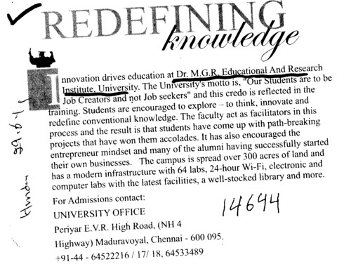 Redefining Knowledge (Dr MGR Educational and Research Institute University)