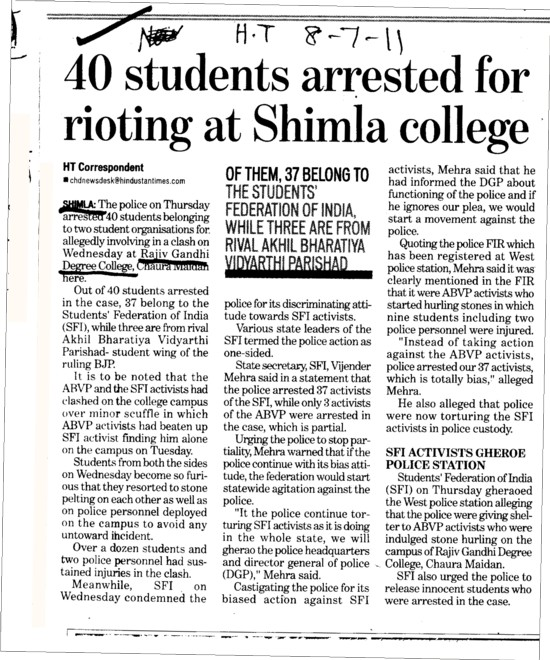 40 Students arrested for rioting at Shimla College (Government College (Chaura Maidan))