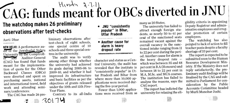 Funds meant for OBCs diverted in JNU (Jawaharlal Nehru University)