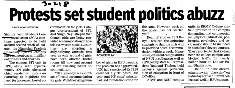 Protests set student politics abuzz (Himachal Pradesh University)
