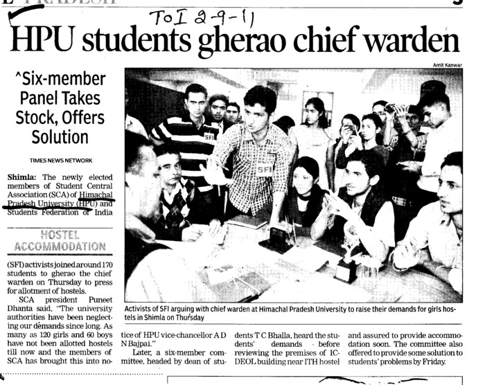 HPU students gherao chief warden (Himachal Pradesh University)