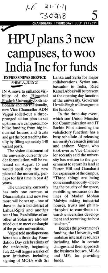 HPU plans new campuses to woo Indian Inc for funds (Himachal Pradesh University)