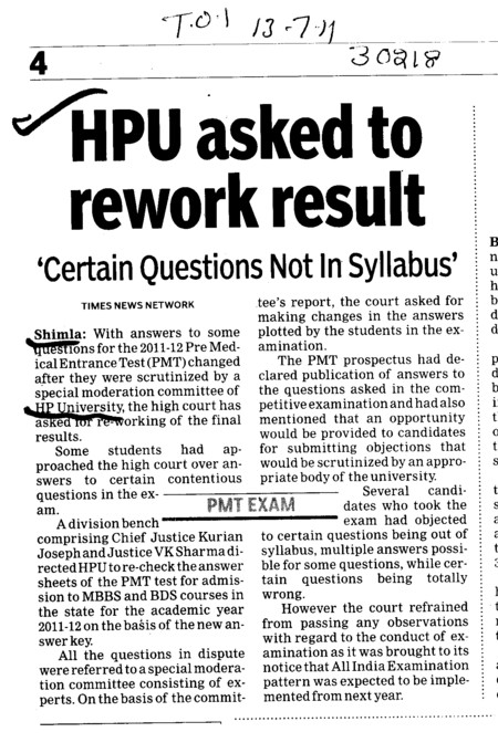 HPU asked to rework result (Himachal Pradesh University)