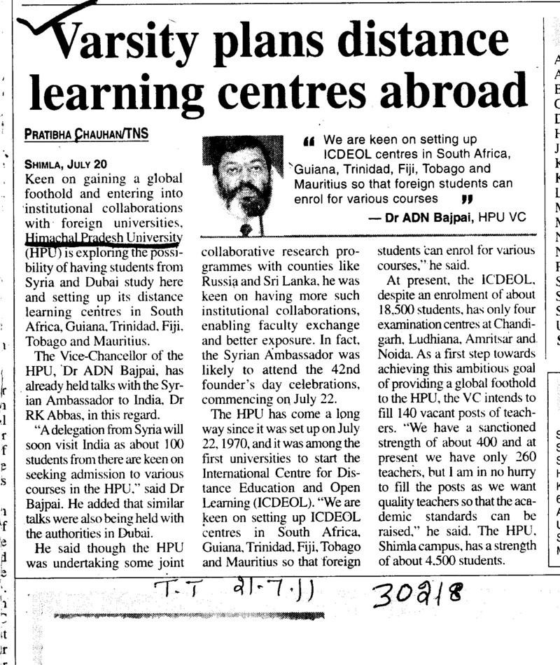 Varsity plans distance learning centres abroad (Himachal Pradesh University)
