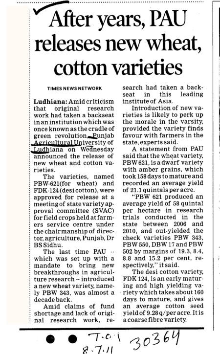 After years PAU releases new wheat cotton varieties (Punjab Agricultural University PAU)