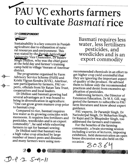 PAU VC exhorts farmers to cultivate Basmati rice (Punjab Agricultural University PAU)