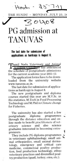 PG admission at TANUVAS (Tamil Nadu Veterinary And Animal Sciences University TANUVAS)