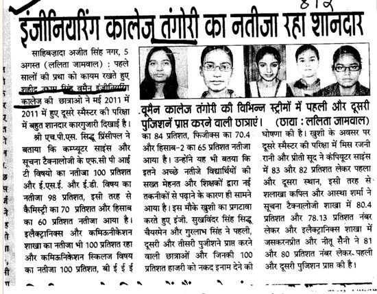 Engineering College Tangori ka result raha shaandar (Saheed Udham Singh (SUS) Women Engineering College)