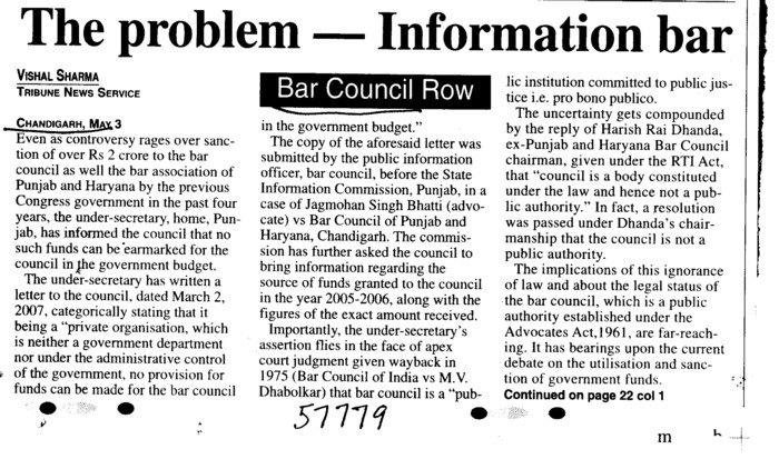 Bar Council Row (Bar Council of Punjab and Haryana)