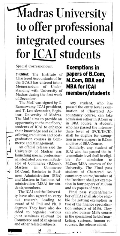 Madras University to offer proffessional integrated courses for ICAI students (Institute of Chartered Accountants of India (ICAI))