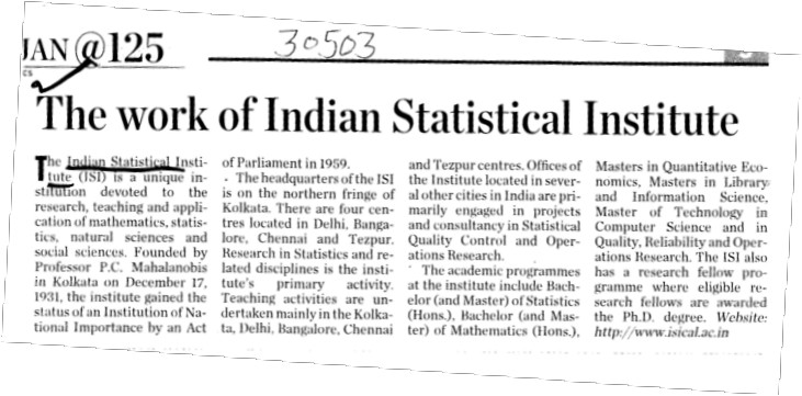 The work of Indian Statistical Institute (Indian Statistical Institute)
