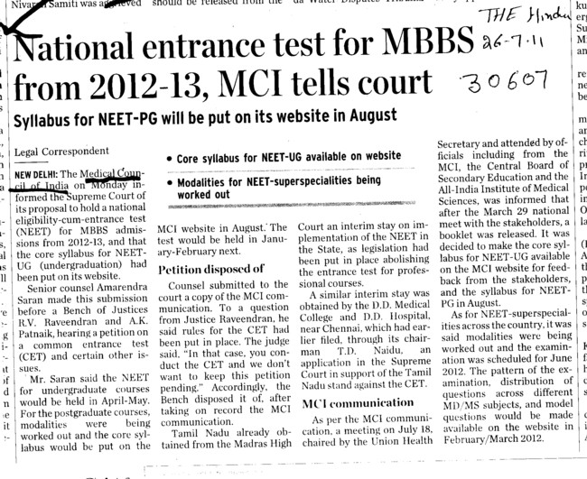 National entrance test for MBBS from 2012 and 2013 MCI tells court (Medical Council of India (MCI))