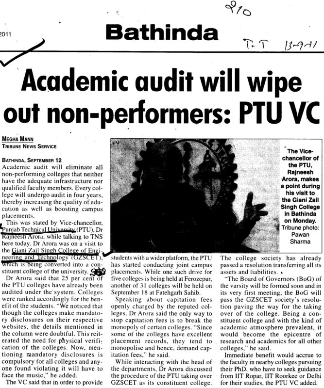 Academic audit will wipe out non performers (Giani Zail Singh College Punjab Technical University (GZS PTU) Campus)