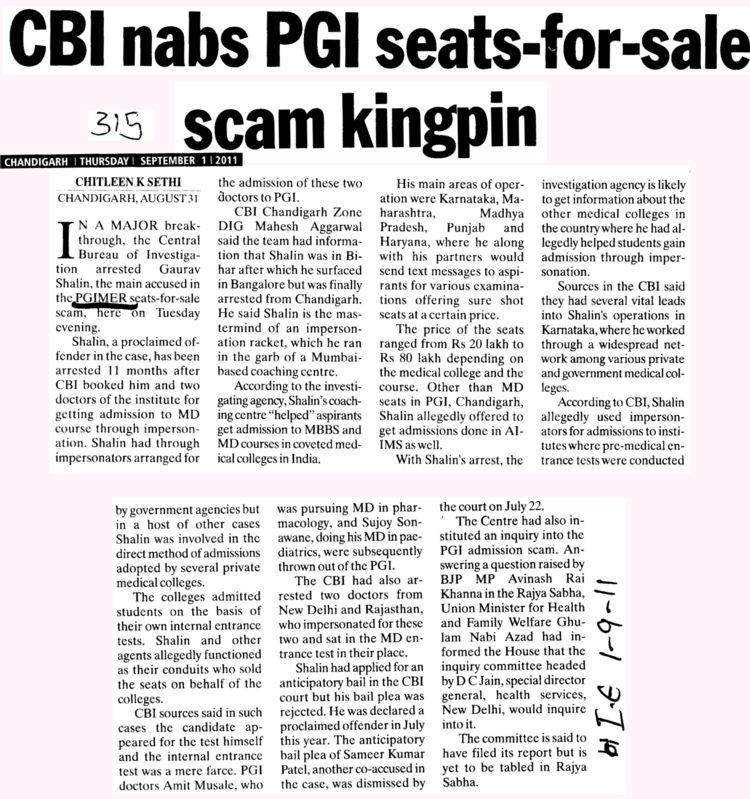 CBI nabs PGI seats for sale scam kingpin (Post-Graduate Institute of Medical Education and Research (PGIMER))