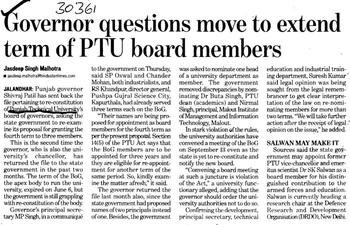 Governor questions move to extend term of PTU board members (Punjab Technical University PTU)
