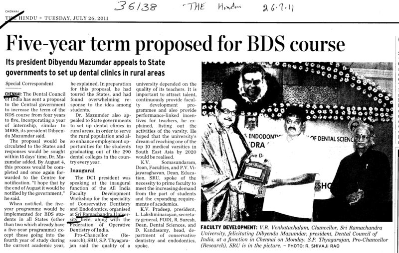 Five year term proposed for BDS course (SRM University)