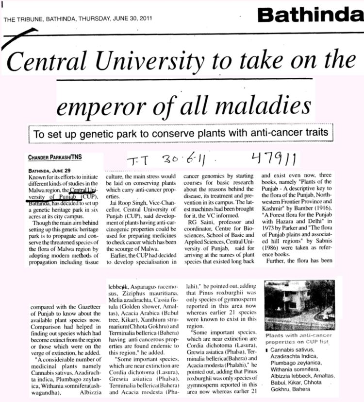Central University to take on the emperor of all maladies (Central University of Punjab)