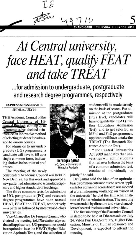 At Central Unievrsity face Heat qualify FEAT and take TREAT (Central University of Himachal Pradesh)